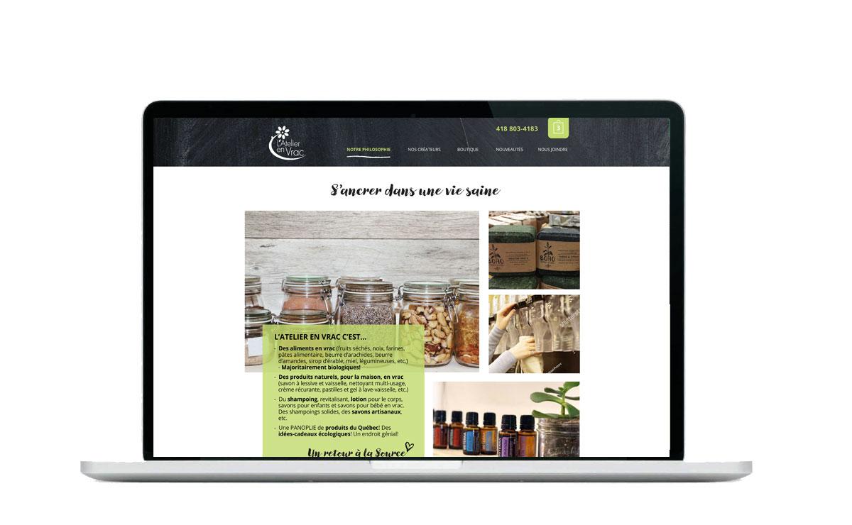 Atelier en vrac web boutique